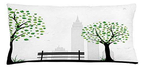 shion Cover, Minimalist City Figures with Simple Lines and Leaf Patterns in Boho Design Print, Decorative Square Accent Pillow Case, 18 X 18 inches, Green Black ()