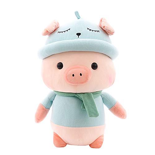 pyc88 Nettes Tragen eines Hutes Schal Schwein Puppe Plüschtier kreative süße Kind Puppe Kissen Geschenk Puppen Blauer Schal Schwein 25cm (0,17 kg) -