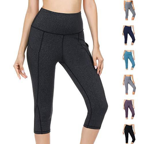 WateLves Damen Hohe Taille Sport Hose 3/4 Yoga Leggings Capri mit Tasche Jogginghose Stretch Workout Fitness(Dunkelgrau, M) Capri Spandex Jersey