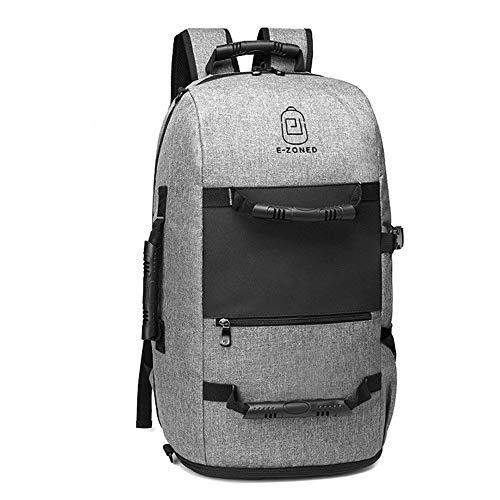 ETH Wandernde Rucksackreisetasche des Rucksacks männliche im Freien USB-Computer-Taschenschultasche dauerhaft (Farbe : Gray)