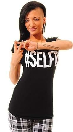 NEW WOMENS SELFIE TOP CAP TURN UP SLEEVE # SELFIE SLOGAN TEE BLACK T-SHIRT 8 - 14
