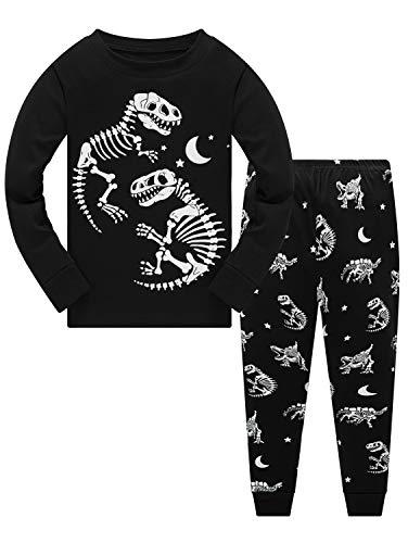 Jungen Schlafanzug Set 100% Baumwolle Dinosaurier Pyjs Kleinkind Langarm Nachtwäsche Kids Kleidung 2-teilig Outfit 1-10 Jahre Gr. 8-9 Jahre, Glowing Dinosaur (Niedliche Kleine Dinosaurier Kleinkind Kostüm)