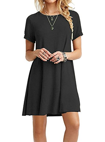 Your Cozy Ihr Gemütliches beiläufiges schwarzes Kleid für Frauen Langarm Tunika Tshirt Kleid Swing Prime (Schwarz-L)
