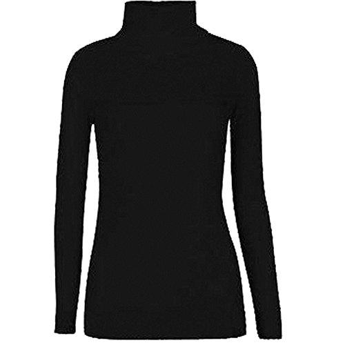 Rollkragen Damen Rolli Long Sleeve Stretch Shirt/Top, Gr. 8-22 Schwarz - Schwarz