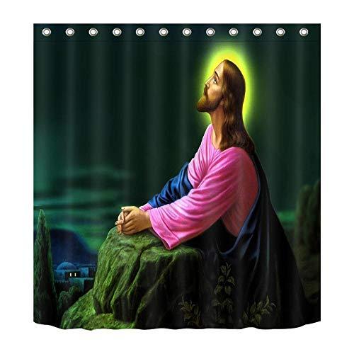 LB Jesus schaute auf seinen Vater,Gott_Dekor Duschvorhang für Badezimmer,Wasserdicht Polyester Stoff Bad Vorhang,59W x71H