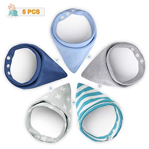 YISSVIC 5 Pcs Baberos para Bebes Bandanas Bebé Diseño Unisex 100% Algodón...