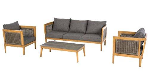 PEGANE Salon de jardin 5 places en aluminium et résine tressée avec 1 table