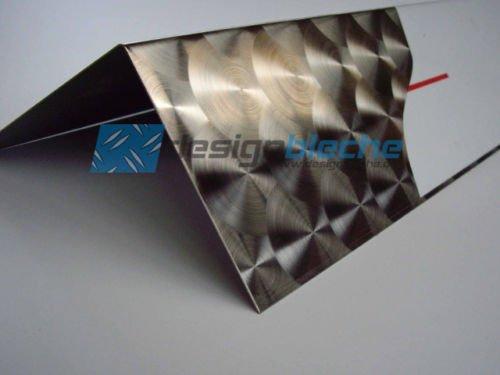 1x Winkel Edelstahl V2A D50 Marmoriert 25x25x2000mm 1,5mm stark, einseitig mit Schutzfolie