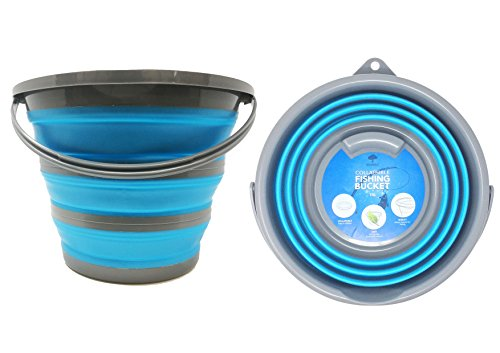 Zusammenklappbarer tragbarer Haushaltsbehälter - Eimer zur Aufnahme von 10 Liter Wasser - Geeignet für Erfordernisse der Haushalts-Reinigung - Putzeimer aber auch für Outdoors, Fischen & Camping.