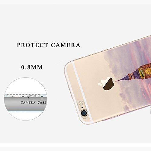 """Tsuger Custodia Morbido per Apple iPhone 6-4.7"""" Case Cavor plastica sottile Trasparente Chiaro TPU Silicone Gel Bumper + shell plastica PC Cassa Caso Protezione Cellulare Anti Scivolo Ammortizzante--i 9"""