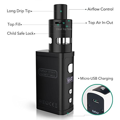 E Cigarette Cig Kebor® Cloud 50W Vape Box Mod Full Kit with Nicotine-free Eliquid OLED Screen Complete Starter Set 2mL Sub Ohm Atomiser 1300mAh Battery Variable Wattage Huge Vapour Vaping Bundle Child Proof Tank Anti Leak Top Refill Adjustable Airflow Portable Rechargeable Electronic Shisha 16600D Include Silicone Rubber Dust Cap – Black