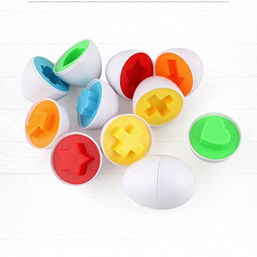 TOYMYTOY Uova per Pasqua apribili a forma geometrica da incastro per regalo pasquali e giocattoli di bambini 6PCS