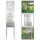 Steckschild Edelstahl, Gartendekoration mit Spruch, Gartenschild