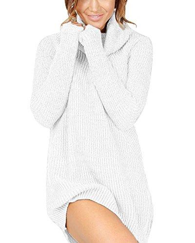 Damen Herbst Winter Pullover Kleid Strickpulli Langarm Lose Sweater Lang Oberteile Jumper Pulli Weiß S -