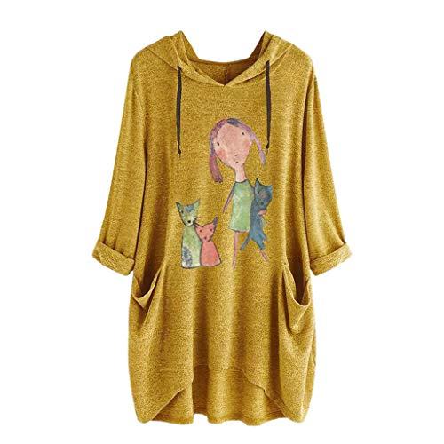 BOLANQ Damen Top Shirt Bluse, Damen beiläufige mit Kapuze Lange Hülsen Katzen Ohr Druck Taschen Hemd unregelmäßige Spitzenbluse (A-Gelb, X-Large)