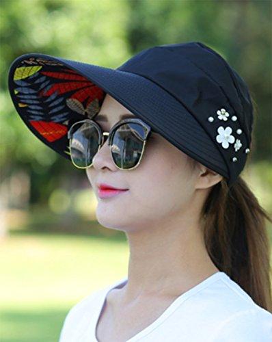 JUNGEN Floppy Chapeau Unisexe Wide Brim Chapeau De Soleil Fashion Voyage Chapeau de Plage idéal pour Vacances Anti UV 1 PCS Noir