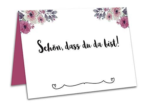 50 Tischkarten oder Platzkarten Hochzeit, Geburtstag, Taufe, Kommunion, Konfirmation mit Blumen und Schön DASS du da bist Bedruckt (Eukalyptus)