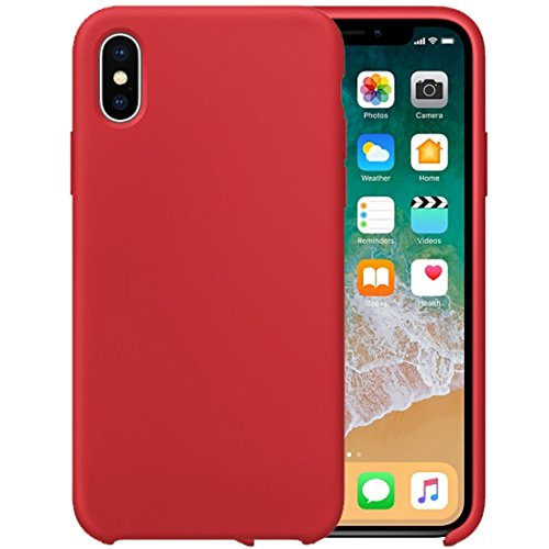 Für iPhone 5.8 Zoll Fall, Für iPhone X Reine Farbe Flüssigsilikon + PC Dropproof Protective Rückseite Fall (5,8 Zoll) ( Color : Red )