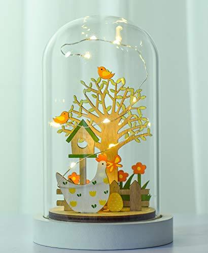 Victor's workshop cupola in vetro a led decorativa per pasqua 19 cm in legno per la decorazione primaverile