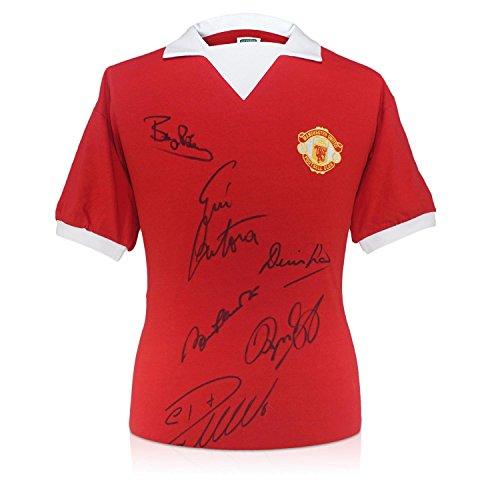 Exclusive Memorabilia Manchester Utd Shirt Signed By Cristiano Ronaldo, Bobby Charlton, Eric Cantona, Denis Law, Bryan Robson and Ryan Giggs