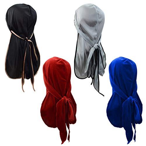 heliltd 4 Stück Durag Caps, Velvet Durag und Silky Soft Durag Hat Headwraps Pirate Cap (Hat Velvet Pirate)