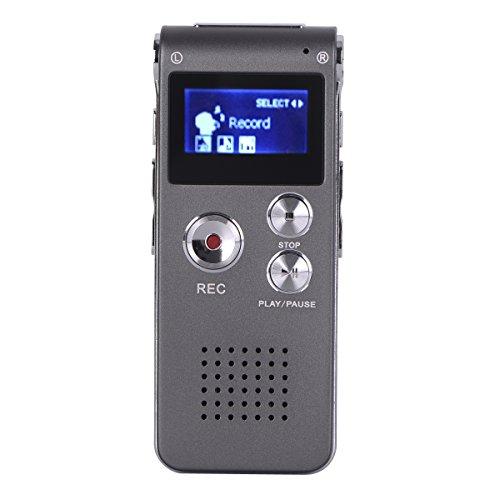 WULAU Digitales Diktiergerät - 16GB Diktierapparat Tonaufnahmegerät HD Audiorekorder MP3-Player Wiederholfunktion Direktaufnahme One-Touch-Aufnahme Aufnahmegerät für Vorlesungen Meetings Interviews