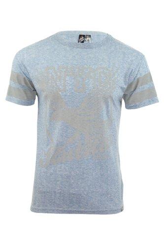 Soul Star Herren T-Shirt Rundhalsausschnitt NYC 'Burst' Burnout Graphik Druck Jersey Burst (Sky)