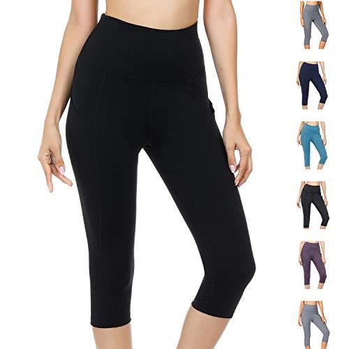 WateLves Damen Hohe Taille Sport Hose 3/4 Yoga Leggings Capri mit Tasche Jogginghose Stretch Workout Fitness(Schwarz, XL)