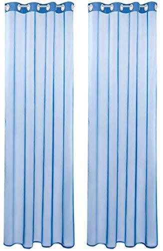 Bestlivings Transparente Blaue Gardine mit Ösen 2er Pack (B140 x L245) inkl. 2 Raffhalter, viele Varianten erhältlich