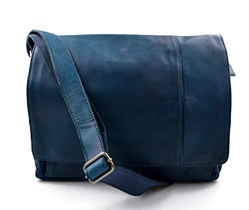 Leder herren damen tablet tasche notebook tasche messenger ledertasche umhangetasche schultertasche tragetasche tasche blau -