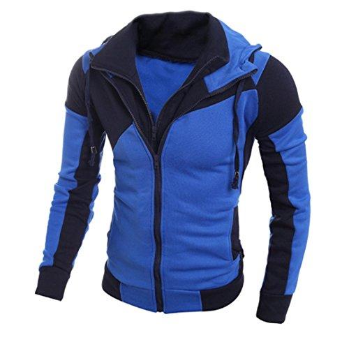 VEMOW Heißer Herbst Winter Männer Retro Langarm Herren Hoodie Kapuzen Sweatshirt Lässige Tägliche Sport Workout Tops Jacke Mantel Outwear(Blau, 48 DE/L CN)