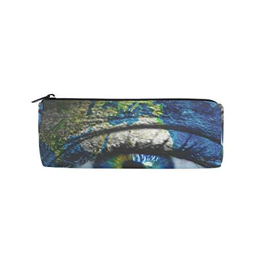Planet Earth und Blue Human Eye Stifteetui, für die Schule, Stifthalter für Kinder, große Kapazität, Make-up, Kosmetikboxen, Büro, Reisetasche