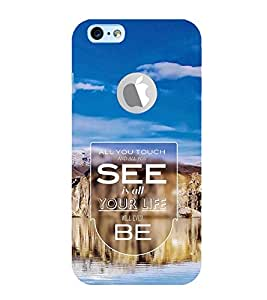 FUSON Touch See Your Life 3D Hard Polycarbonate Designer Back Case Cover for Apple iPhone 6S (Logo View Window Case)