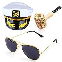 Beelittle Yacht Captain Hat Costume Accessories Set Adjustable Boat Sailor Ship Skipper Cap Aviator Sunglasses Tobacco Pipe with Anchor Design Accessories (B)