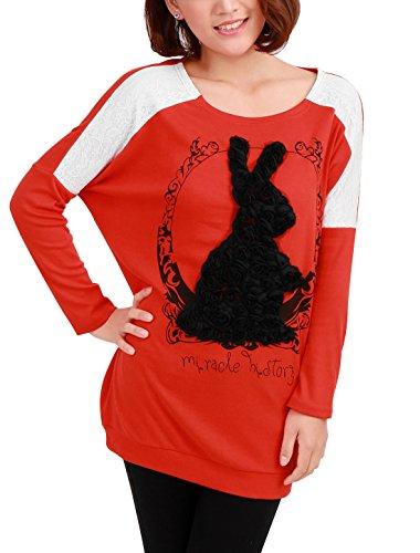 Allegra K Femme Lacets Patch Lapin Applique Manches chauve-souris Haut En vrac Long T-shirts Multicolore - Orange Red