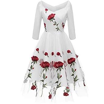 ba06c6e162e97 Image indisponible. Image non disponible pour la couleur : KELUOSI Sexy Robe  de Soirée Audrey Hepburn Femme ...