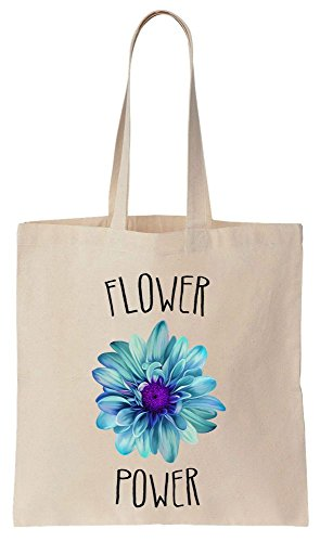 Finest Prints Flower Power Hippy Culture Tote Bag Baumwoll Segeltuch Einkaufstasche (Natural Floral Blue)