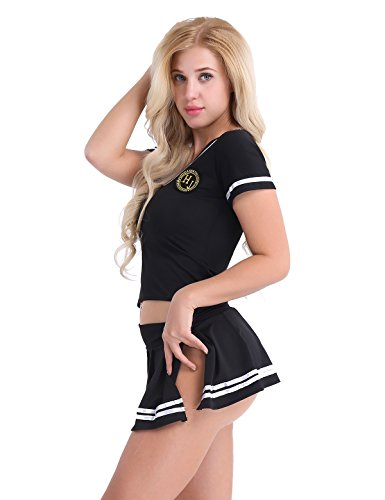 School Rock Kostüm Of - CHICTRY Damen Schulmädchen Kostüm Set Kurzarm Shirt + Minirock + G-String School Girl Uniform Cosplay Outfits Faschingskostüm Clubwear Gr. S-4XL Schwarz Large