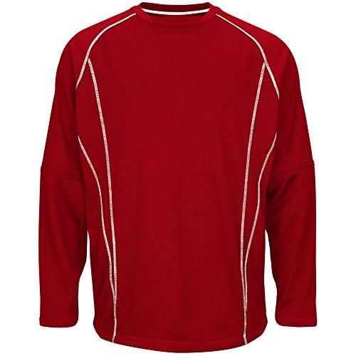 Majestic–Giacca in pile pratica pullover Scarlet/White