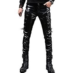 Idopy Hombres Steampunk Steampunk Lace Up Pantalones de cuero de PU Slim Fit (W32(Cintura 82cm))