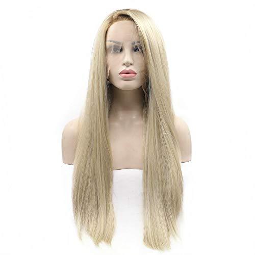 Blonde Perücke, natürliche Haarlinie, seitlich gescheitelt, kurz, braune Wurzeln, Ombreblond, Lace-Front-Perücke, langes Kunsthaar, Damen, Cosplay-Perücke