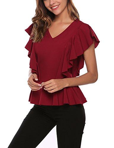 Finejo Damen Sommer Kurzarm T-Shirt Casual Oberteil Tops Bluse Shirt A+Rot