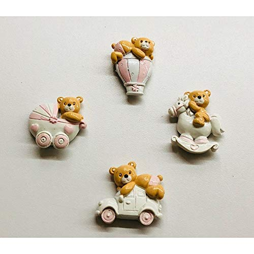 12 pz orso orsetto rosa in resina calamita magnete bomboniera