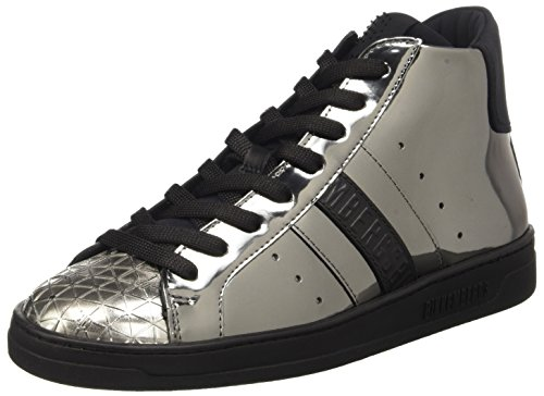 Bikkembergs Bounce 708 Mid Shoe W S.Leather/Lycra, Scarpe a Collo Alto Donna Grigio (Matte Gun/Black)