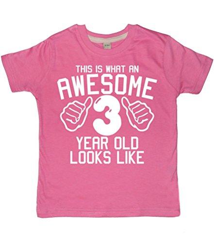 rtiges, 3 Jahre alt, sieht aus wie Bubblegum Pink Girls 3nd Geburtstags-T-shirt, Größe 92-98, weiß, 1 Stück ()