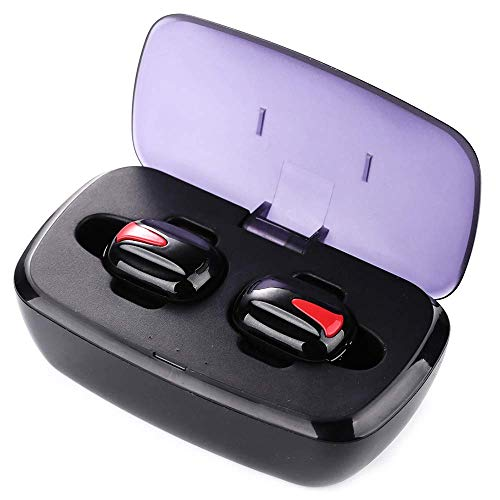 HAOYU Rauschunterdrückendes Bluetooth-Headset, Mini-Sport-Funkkopfhörer-Ladestation Stereo Mono, Rot