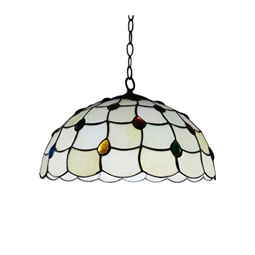 YJFFAN 16 Zoll Restaurant Glasleuchter, Handwerkliche Glas Decke Leuchte Pendel Lampe, Kühle Und Warme Töne Schalten Frei E27 (Glühbirnen Nicht Enthalten)