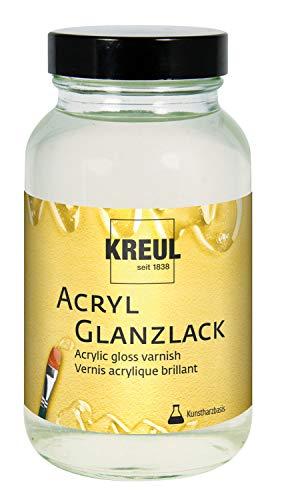 Kreul 79406 - Acryl Glanzlack auf Kunstharzbasis, Schutz- und Überzugslack für durchgetrocknete Aufmalungen, für Innen und Außen geeignet, 250 ml Glas, glänzend transparent