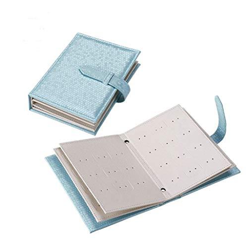 Tangerniu Ohrring-Organisator-tragbare lederne Buchform, U-Form Gürtelschnalle-Silberwaren, die Kasten empfangen, verwendbar für Ohr-Nägel und Ohrring (Color : Blue)