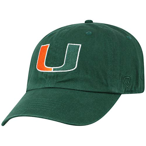 Top of the World Herren Mütze NCAA verstellbar Relaxed Fit Team Icon, Herren, NCAA Men's Adjustable Hat Relaxed Fit Team Icon, Miami Hurricanes Green, Einstellbar (Miami Hat Hurricanes)